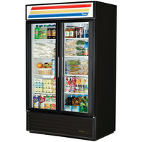 True GDM-43-HC-LD Black Two Swing Glass Door Refrigerated Merchandiser with LED Lighting - 40.6 Cu. Ft.
