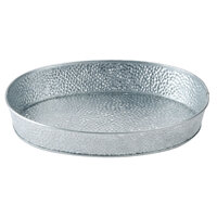 Tablecraft GP129 12 inch x 9 inch Oval Galvanized Steel Diner Platter - 12/Pack