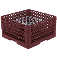 Vollrath PM3208-3 Traex Burgundy 32 Compartment Plate Rack - 4 3/4 inch-7 5/8 inch
