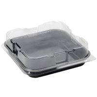 8 inch x 8 inch Bake and Show Black Corrugated Heavy Duty Square Paperboard Brownie / Cake Pan with Lid - 10 Pack