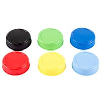Tablecraft 53FCAPA Solid Assorted Color End Caps for Inverted or Squeeze Bottles with a 53 mm Opening - 12 / Pack