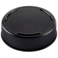 Tablecraft 53FCAPBK Solid Black End Cap for Inverted or Squeeze Bottles with a 53 mm Opening   - 12/Pack
