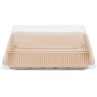 Solut 9 inch x 13 inch Bake and Show Quarter Size Corrugated Kraft Sheet Pan and Clear Dome Lid Combo Kit - 10/Pack