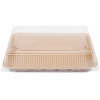 9 inch x 13 inch Bake and Show Quarter Size Corrugated Kraft Sheet Pan and Clear Dome Lid Combo Kit - 10 / Pack