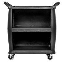 Carlisle CC2036P03 3 Shelf Black Utility / Bus Cart with Panels - 300 lb. Capacity