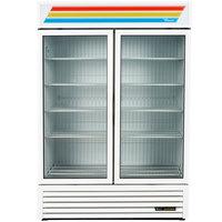 True GDM-49F-LD White Glass Swing Door Merchandiser Freezer with LED Lighting - 49 Cu. Ft.