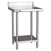 Regency 16 Gauge All Stainless Steel Commercial Work Table - 24 inch x 30 inch with Undershelf and 4 inch Backsplash