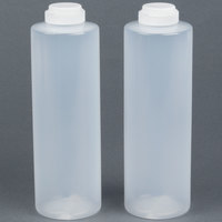 Tablecraft 2124C-1 24 oz. Clear Squeeze Bottle with 38 mm Flip Lid - 2 / Pack