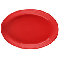 Tuxton CQH-0962 Concentrix 9 3/4 inch x 7 inch Cayenne Oval China Coupe Platter - 24/Case