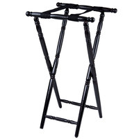 "Lancaster Table &amp&#x3b; Seating Black 32"" Folding Turned Leg Tray Stand Chic Wood"