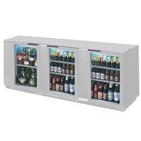 Beverage Air BB94G-1-S-LED 94 inch Back Bar Refrigerator with 3 Glass Doors and Stainless Steel Front - 115V