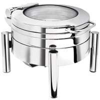 Eastern Tabletop 3978GS 4 qt. Round Stainless Steel Chafer with Stand and Hinged Lid with Glass Window