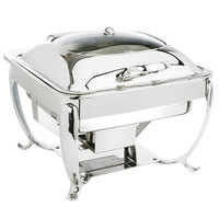 Eastern Tabletop 3914GS 6 Qt. Stainless Steel Square Induction Chafer with Stand and Hinged Glass Dome Cover