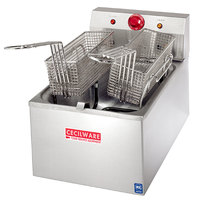 Cecilware EL-120 Stainless Steel Commercial Countertop Electric Deep Fryer with 15 lb. Fry Tank - 1800W