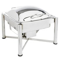 Eastern Tabletop 3944S 6 Qt. Square Stainless Steel Chafer with Stand and Hinged Dome Cover