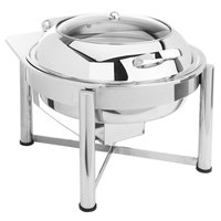 Eastern Tabletop 3958GS 6 Qt. Round Stainless Steel Chafer with Stand and Hinged Glass Dome Cover