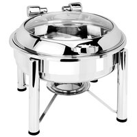 Eastern Tabletop 3928GS 6 Qt. Round Stainless Steel Chafer with Stand and Hinged Glass Dome Cover