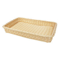 GET WB-1509-N Designer Polyweave Plastic Rectangular Basket - Natural 18 inch x 12 1/4 inch x 2 1/2 inch - 12 / Pack