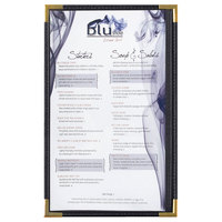 Menu Solutions RS33D BK GLD Royal 8 1/2 inch x 14 inch Single Panel / Two View Black Menu Board with Gold Corners