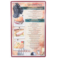 Menu Solutions H500D CHERRY Hamilton 8 1/2 inch x 14 inch Single Panel / Two View Cherry Heat Sealed Menu Board