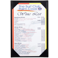 Menu Solutions K111A BK The Kearny Series 5 1/2 inch x 8 1/2 inch Single Panel / Double-Sided Black Menu Board
