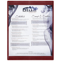 Menu Solutions K22C BURG K22-Kent 8 1/2 inch x 11 inch Single Panel / Double-Sided Burgundy Menu Board