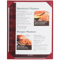 Menu Solutions K111C BURG The Kearny Series 8 1/2 inch x 11 inch Single Panel / Double-Sided Burgundy Menu Board