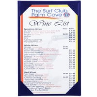 Menu Solutions K111A BLUE The Kearny Series 5 1/2 inch x 8 1/2 inch Single Panel / Double-Sided Blue Menu Board