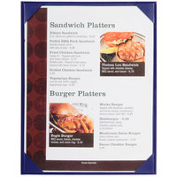 Menu Solutions K111C BLUE The Kearny Series 8 1/2 inch x 11 inch Single Panel / Double-Sided Blue Menu Board