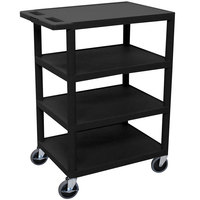 Luxor / H. Wilson BC45 Black 4 Shelf Serving Cart - 18 inch x 24 inch x 36 inch