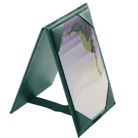 Menu Solutions TT067B GRN 5 inch x 7 inch A-Frame / Two View Green Table Tent with Picture Corners