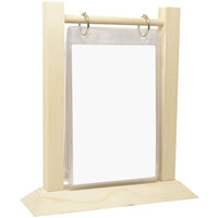 Menu Solutions WFT4S-B 5 inch x 7 inch Almond Wood Flip Top Table Tent