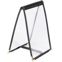 Menu Solutions SE134 BLACK 4 inch x 6 inch Single Panel / One View Black Sewn Edge Table Tent