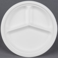 EcoChoice Biodegradable, Compostable Sugarcane / Bagasse 10 inch Plate 3 Compartment - 500 / Case