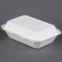 EcoChoice Biodegradable, Compostable Sugarcane / Bagasse 9 inch x 6 inch x 3 inch Takeout Container 1 Compartment - 200 / Case