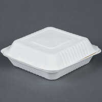 EcoChoice Biodegradable, Compostable Sugarcane / Bagasse 9 inch x 9 inch 1 Compartment Takeout Box - 200 / Case