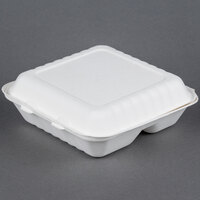 EcoChoice Biodegradable, Compostable Sugarcane / Bagasse 9 inch x 9 inch x 3 inch Takeout Container 3 Compartment - 50 / Pack