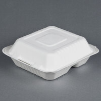 EcoChoice Biodegradable, Compostable Sugarcane / Bagasse 8 inch x 8 inch 3 Compartment Takeout Box - 50 / Pack