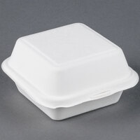 EcoChoice Biodegradable, Compostable Sugarcane / Bagasse 6 inch x 6 inch x 3 inch Takeout Container - 125 / Pack