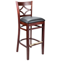 Lancaster Table & Seating Mahogany Diamond Back Bar Height Chair with 2 1/2 inch Padded Seat