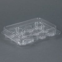 Par-Pak 02200 12 Compartment Clear OPS Hinged Cupcake / Mini Muffin Container - 500 / Case