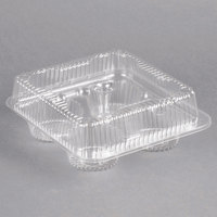 Polar Pak 02086 4 Compartment Clear OPS Hinged Cupcake / Muffin Container - 300/Case