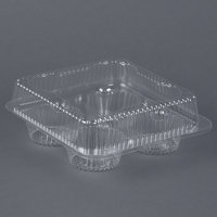 Par-Pak 02086 4 Compartment Clear OPS Hinged Cupcake / Muffin Container - 300/Case