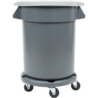 20 Gallon Gray Trash Can, Lid, and Dolly Kit