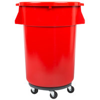 44 Gallon Red Trash Can, Lid, and Dolly Kit