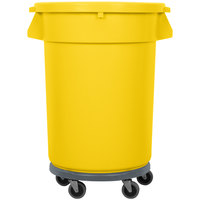 32 Gallon Yellow Trash Can, Lid, and Dolly Kit
