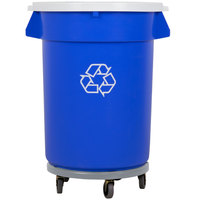 32 Gallon Blue Recycling Trash Can, Lid, and Dolly Kit