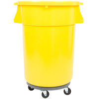 44 Gallon Yellow Trash Can, Lid, and Dolly Kit
