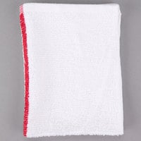 Choice 16 inch x 19 inch Red Striped 32 oz. 100% Cotton Bar Towel - 12/Pack