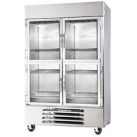 Beverage Air HBR49-1-HG 2 Section Glass Half Door Bottom-Mounted Reach-In Refrigerator with LED Lighting - 49 Cu. Ft.
